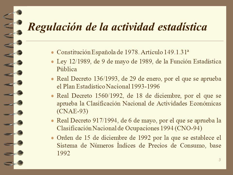 3 Regulación de la actividad estadística Constitución Española de 1978. Artículo 149.1.31ª Ley 12/1989, de 9 de mayo de 1989, de la Función Estadístic