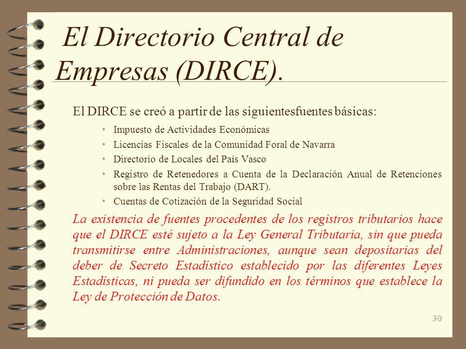 30 El Directorio Central de Empresas (DIRCE). El DIRCE se creó a partir de las siguientesfuentes básicas: Impuesto de Actividades Económicas Licencias