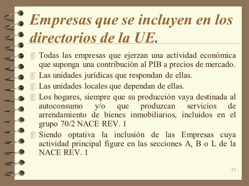 31 Empresas que se incluyen en los directorios de la UE. Todas las empresas que ejerzan una actividad económica que suponga una contribución al PIB a