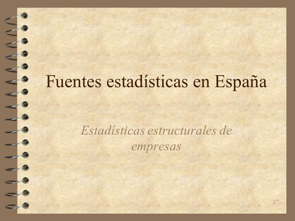 37 Fuentes estadísticas en España Estadísticas estructurales de empresas