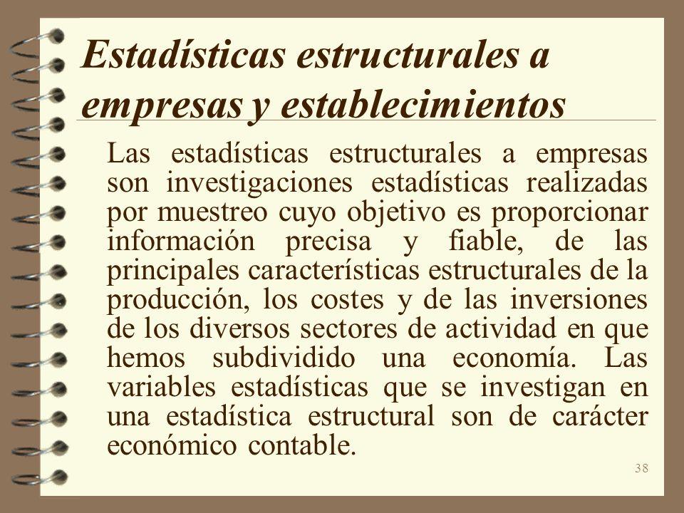 38 Estadísticas estructurales a empresas y establecimientos Las estadísticas estructurales a empresas son investigaciones estadísticas realizadas por