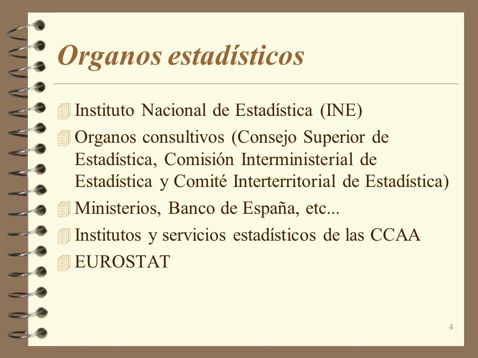 4 Organos estadísticos 4 Instituto Nacional de Estadística (INE) Organos consultivos (Consejo Superior de Estadística, Comisión Interministerial de Es