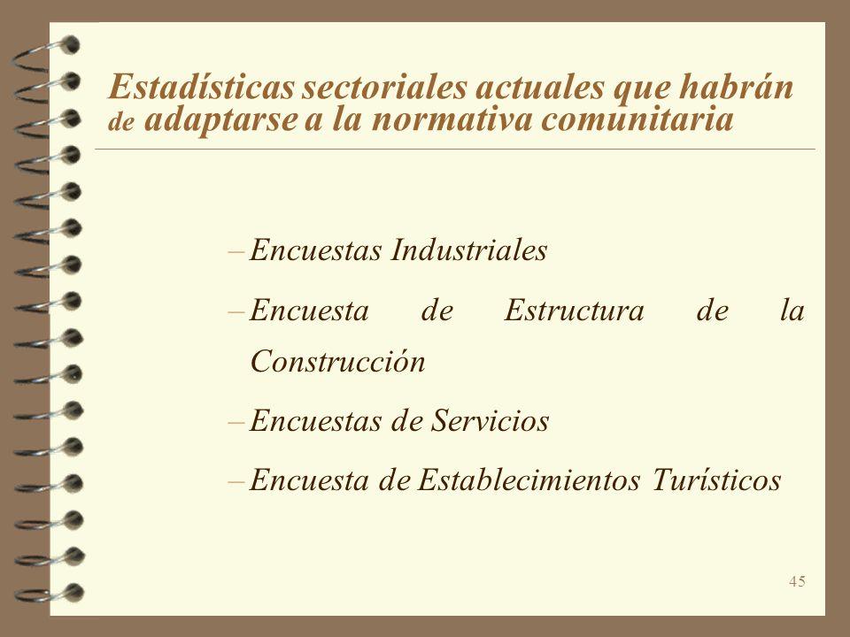 45 Estadísticas sectoriales actuales que habrán de adaptarse a la normativa comunitaria –Encuestas Industriales –Encuesta de Estructura de la Construc