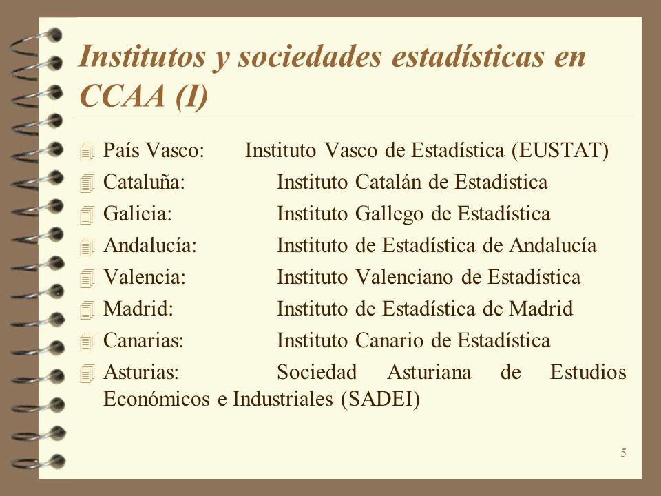 5 Institutos y sociedades estadísticas en CCAA (I) País Vasco: Instituto Vasco de Estadística (EUSTAT) Cataluña:Instituto Catalán de Estadística Galic