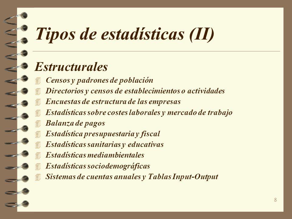 8 Tipos de estadísticas (II) Estructurales Censos y padrones de población Directorios y censos de establecimientos o actividades Encuestas de estructu
