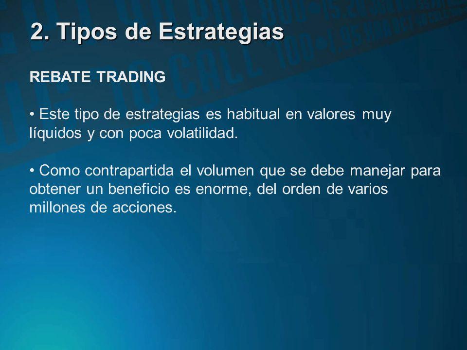 2. Tipos de Estrategias REBATE TRADING El objetivo de este tipo de estrategias es ofrecer liquidez al mercado publicando volúmenes de compra y venta a
