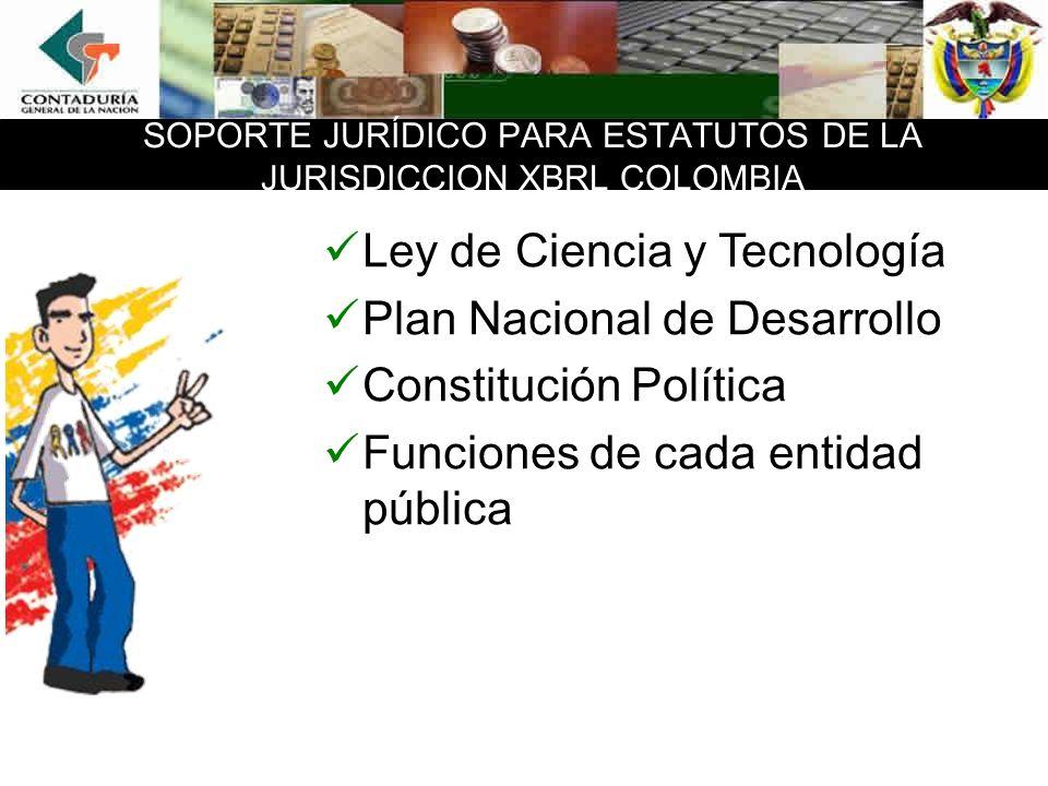 SOPORTE JURÍDICO PARA ESTATUTOS DE LA JURISDICCION XBRL COLOMBIA Ley de Ciencia y Tecnología Plan Nacional de Desarrollo Constitución Política Funcion