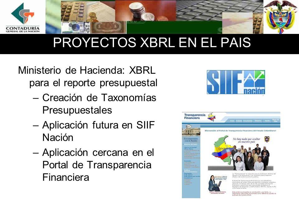 PROYECTOS XBRL EN EL PAIS Se están redactando: –Contaduría: XBRL para el reporte de estados financieros públicos (CHIP) –Superintendencia de Sociedades (Sistema de Insolvencia) –Superintendencia Financiera