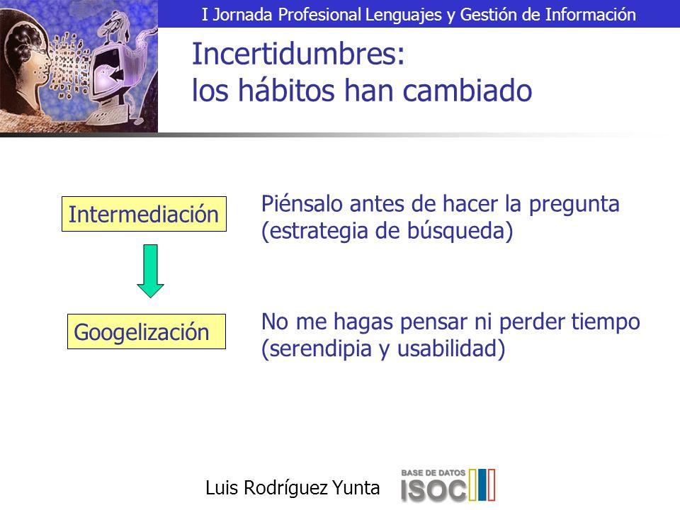I Jornada Profesional Lenguajes y Gestión de Información Luis Rodríguez Yunta Incertidumbres: los hábitos han cambiado Intermediación Piénsalo antes de hacer la pregunta (estrategia de búsqueda) Googelización No me hagas pensar ni perder tiempo (serendipia y usabilidad)