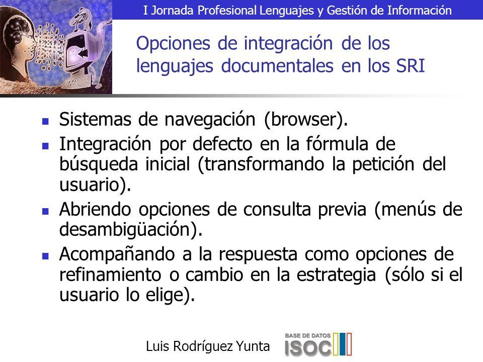 I Jornada Profesional Lenguajes y Gestión de Información Luis Rodríguez Yunta Opciones de integración de los lenguajes documentales en los SRI Sistemas de navegación (browser).