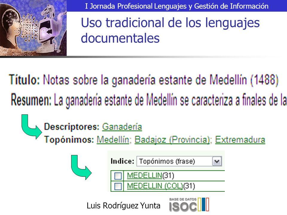 I Jornada Profesional Lenguajes y Gestión de Información Luis Rodríguez Yunta Uso tradicional de los lenguajes documentales