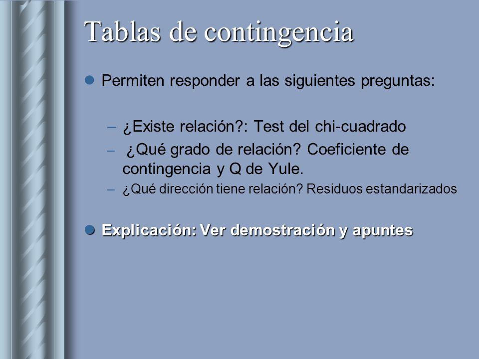Tablas de contingencia Permiten responder a las siguientes preguntas: –¿Existe relación?: Test del chi-cuadrado – ¿Qué grado de relación? Coeficiente