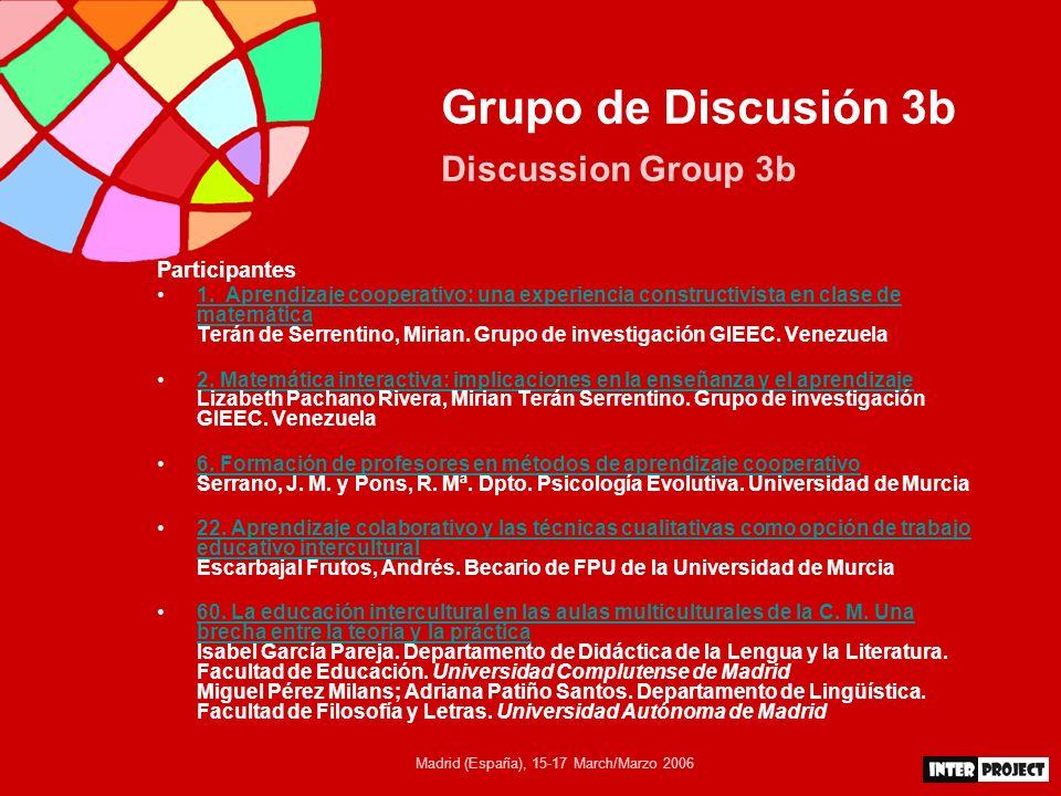 Madrid (España), 15-17 March/Marzo 2006 Grupo de Discusión 3b Discussion Group 3b Participantes 21.