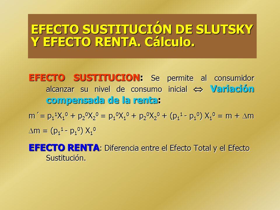 1.Varía la tasa de intercambio de X 1 por X 2 establecida por el mercado (p 1 /p 2 ) EFECTO SUSTITUCION: mide el cambio que se registra en la cantidad