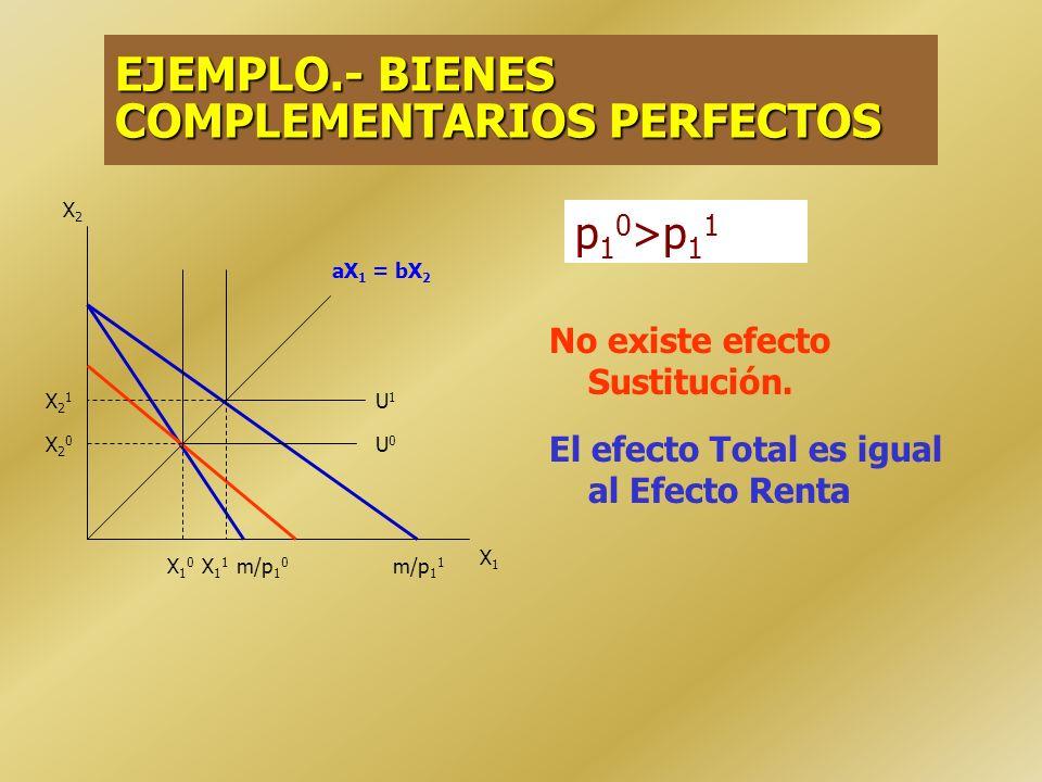 1.ES 0ER < 0 ET < 0 Bien Ordinario (dX 1 /dp 1 < 0) 2. ES 0ER > 0 ES > ER ET 0 ES > ER ET < 0 Bien Ordinario (dX 1 /dp 1 < 0) 3.ES 0ER > 0 ES 0 Bien G
