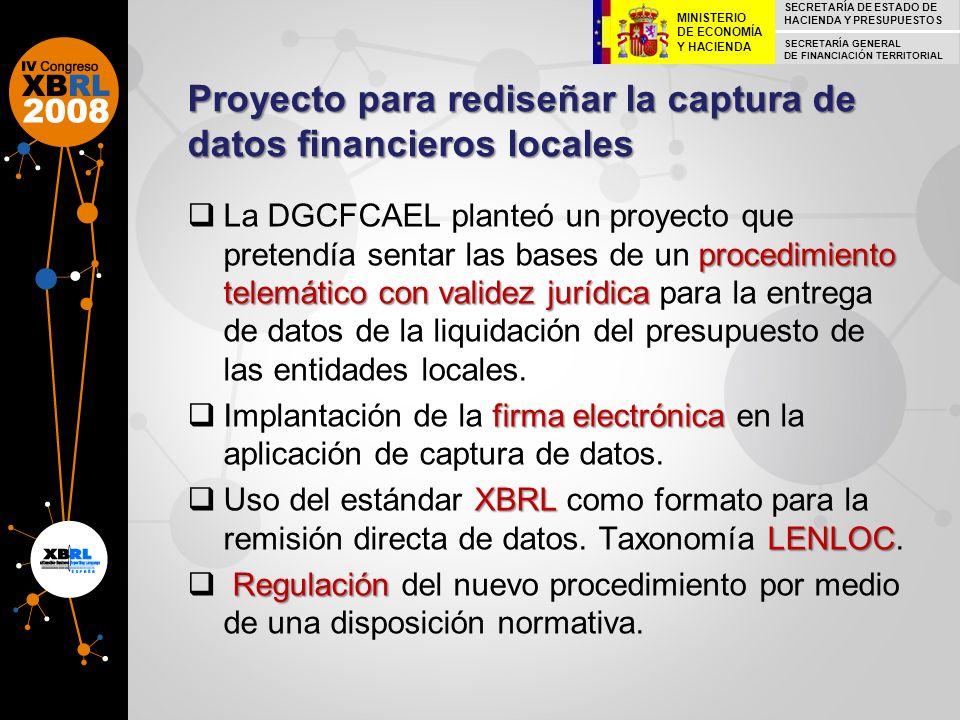 Proyecto para rediseñar la captura de datos financieros locales procedimiento telemático con validez jurídica La DGCFCAEL planteó un proyecto que pret