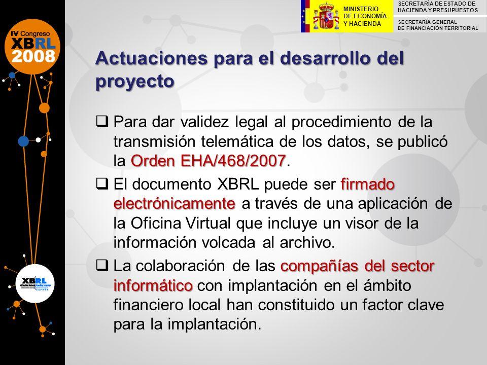 Actuaciones para el desarrollo del proyecto Orden EHA/468/2007 Para dar validez legal al procedimiento de la transmisión telemática de los datos, se p