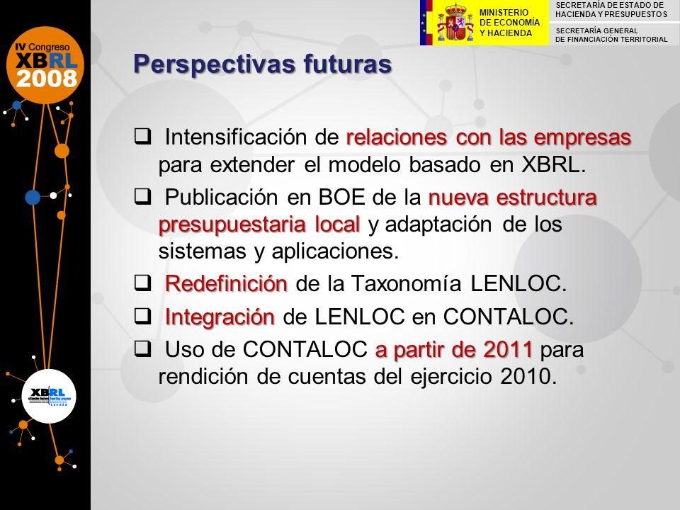 Perspectivas futuras relaciones con las empresas Intensificación de relaciones con las empresas para extender el modelo basado en XBRL. nueva estructu