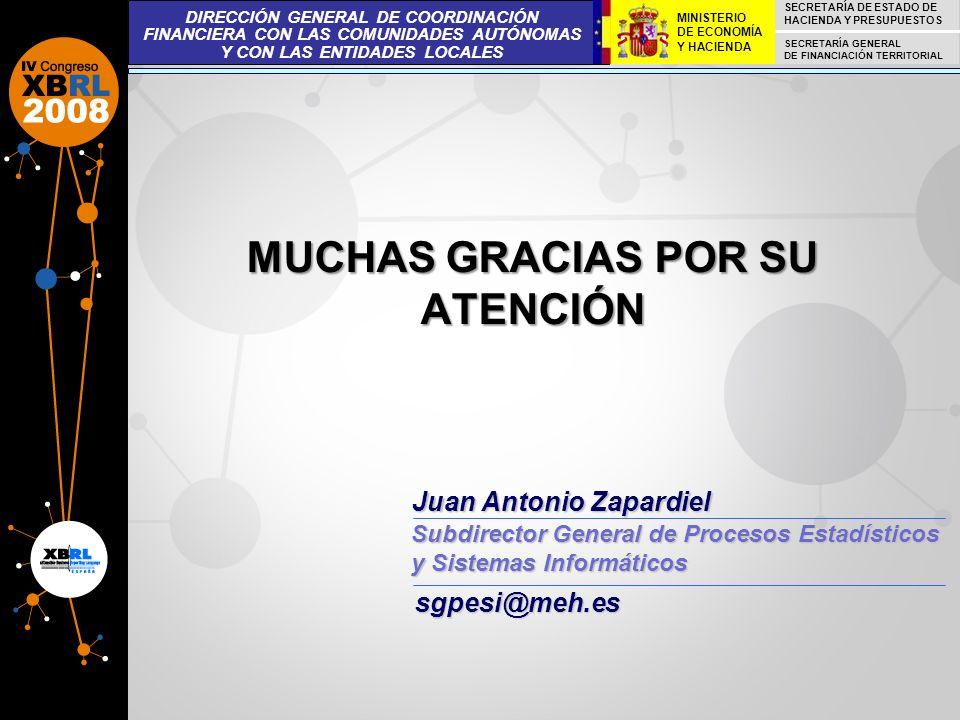 MUCHAS GRACIAS POR SU ATENCIÓN Juan Antonio Zapardiel Subdirector General de Procesos Estadísticos y Sistemas Informáticos DIRECCIÓN GENERAL DE COORDI