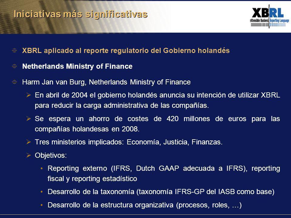 XBRL aplicado al reporte regulatorio del Gobierno holandés Netherlands Ministry of Finance Harm Jan van Burg, Netherlands Ministry of Finance En abril de 2004 el gobierno holandés anuncia su intención de utilizar XBRL para reducir la carga administrativa de las compañías.