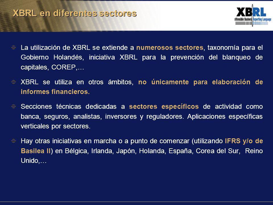 La utilización de XBRL se extiende a numerosos sectores, taxonomía para el Gobierno Holandés, iniciativa XBRL para la prevención del blanqueo de capitales, COREP,… XBRL se utiliza en otros ámbitos, no únicamente para elaboración de informes financieros.