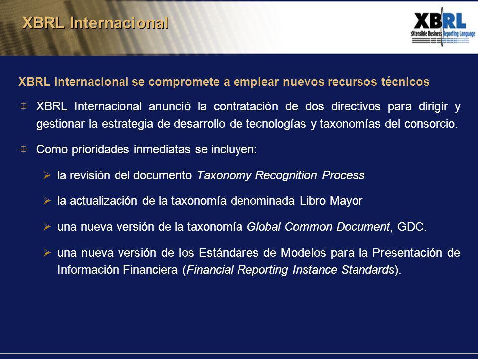 XBRL Internacional se compromete a emplear nuevos recursos técnicos XBRL Internacional anunció la contratación de dos directivos para dirigir y gestionar la estrategia de desarrollo de tecnologías y taxonomías del consorcio.