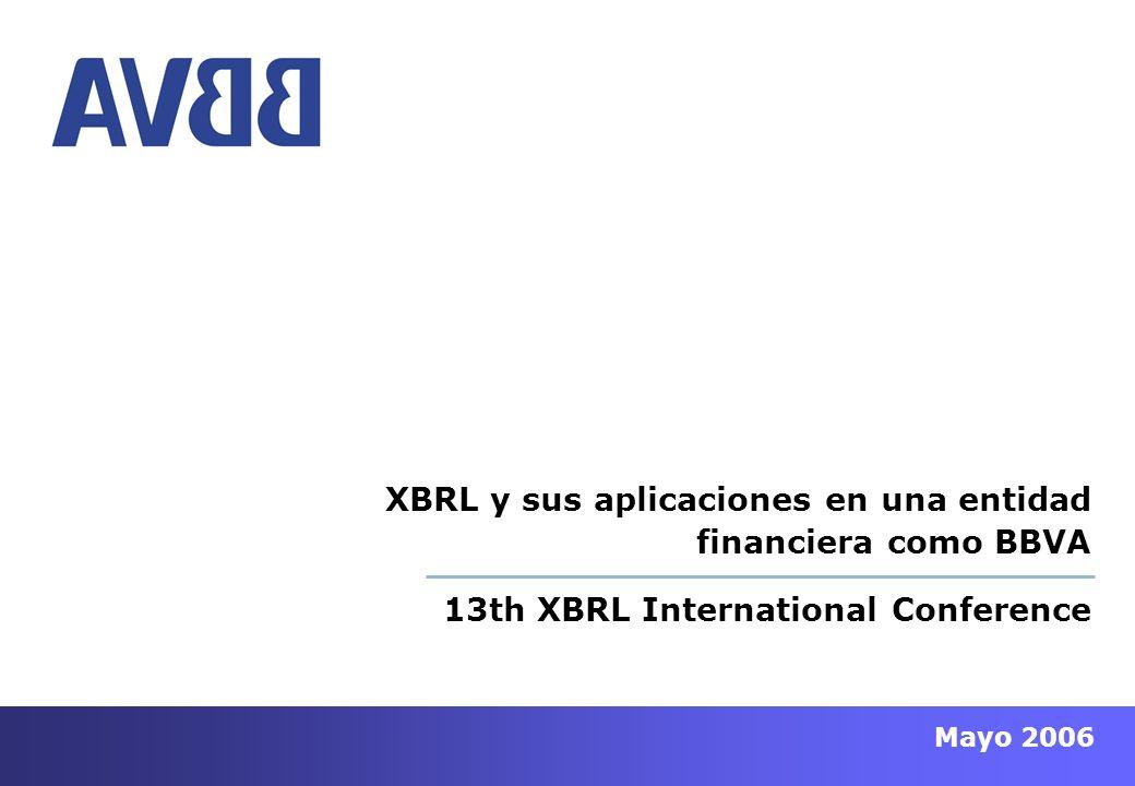 - 12 - Mayo 2006 13th XBRL International Conference APORTACIÓN DE XBRL ANTE NUEVOS REQUERIMIENTOS Ante el nuevo escenario de intercambio y gestión de la información: Integridad Óptima Explotación Reducción Ciclos Calidad Estandarización 1.