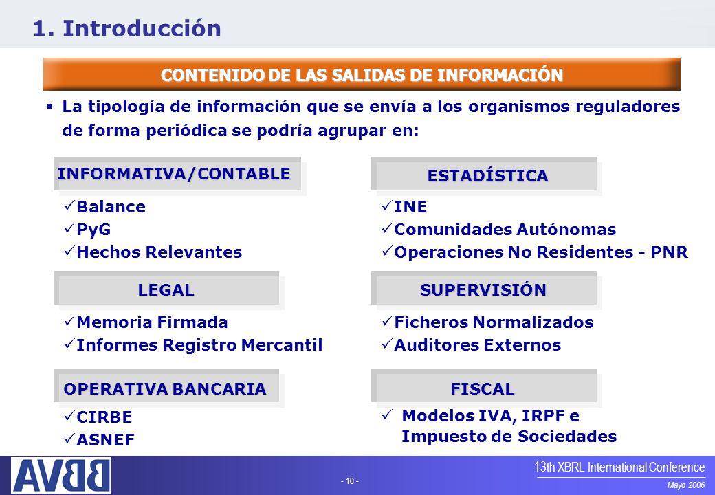 - 10 - Mayo 2006 13th XBRL International Conference CONTENIDO DE LAS SALIDAS DE INFORMACIÓN La tipología de información que se envía a los organismos