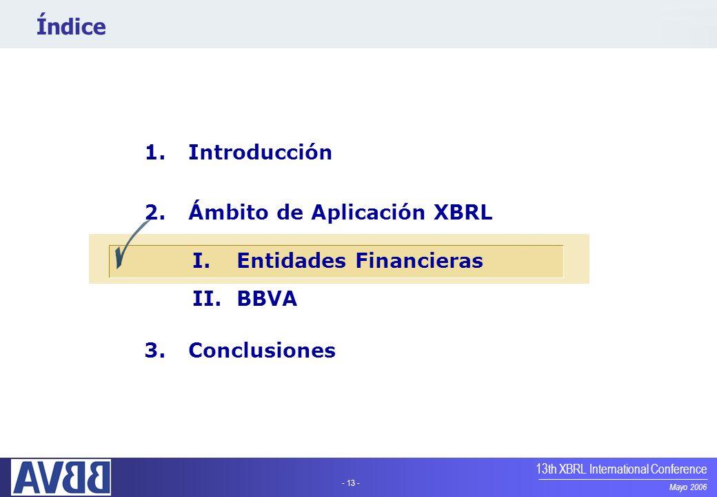 - 13 - Mayo 2006 13th XBRL International Conference Índice 1.Introducción 2.Ámbito de Aplicación XBRL I.Entidades Financieras II.BBVA 3.Conclusiones