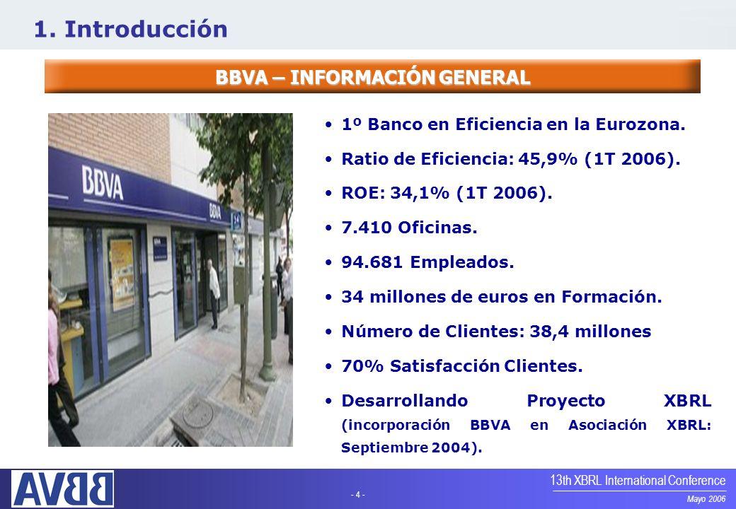 - 4 - Mayo 2006 13th XBRL International Conference BBVA – INFORMACIÓN GENERAL 1º Banco en Eficiencia en la Eurozona. Ratio de Eficiencia: 45,9% (1T 20