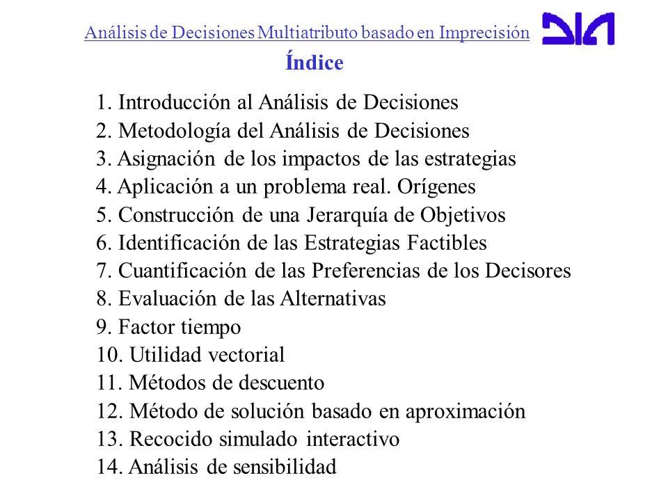 Análisis de Decisiones Multiatributo basado en Imprecisión 1. Introducción al Análisis de Decisiones 2. Metodología del Análisis de Decisiones 3. Asig