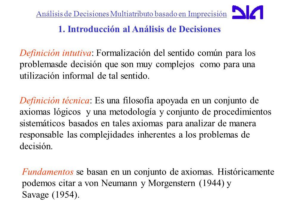 Análisis de Decisiones Multiatributo basado en Imprecisión 1. Introducción al Análisis de Decisiones Definición intutiva: Formalización del sentido co
