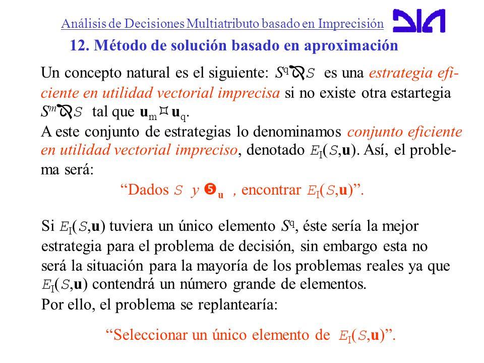 Análisis de Decisiones Multiatributo basado en Imprecisión 12. Método de solución basado en aproximación Un concepto natural es el siguiente: S q S es