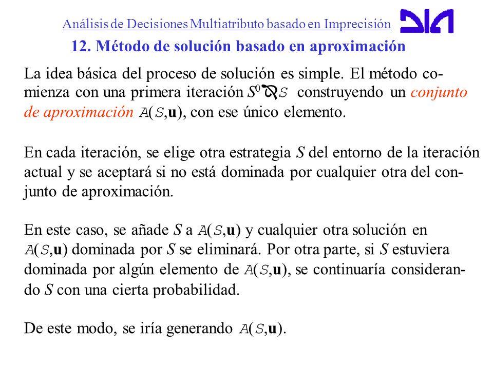 Análisis de Decisiones Multiatributo basado en Imprecisión 12. Método de solución basado en aproximación La idea básica del proceso de solución es sim