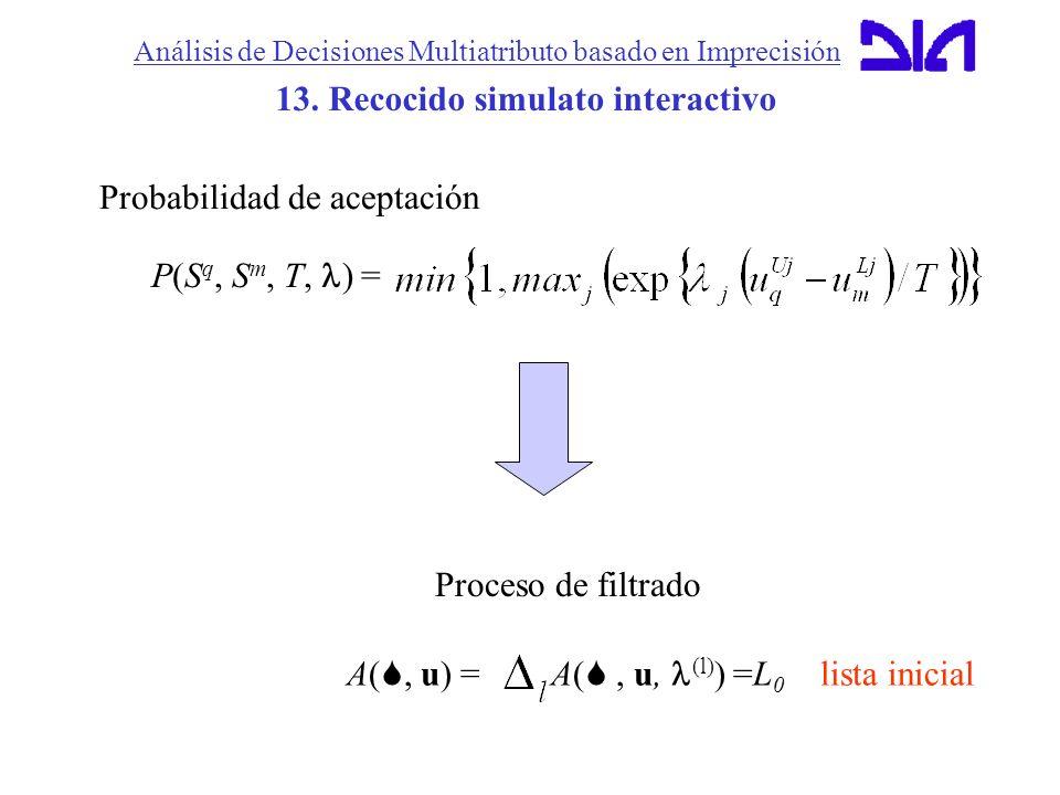 Análisis de Decisiones Multiatributo basado en Imprecisión 13. Recocido simulato interactivo Probabilidad de aceptación P(S q, S m, T, ) = A(, u) = A(