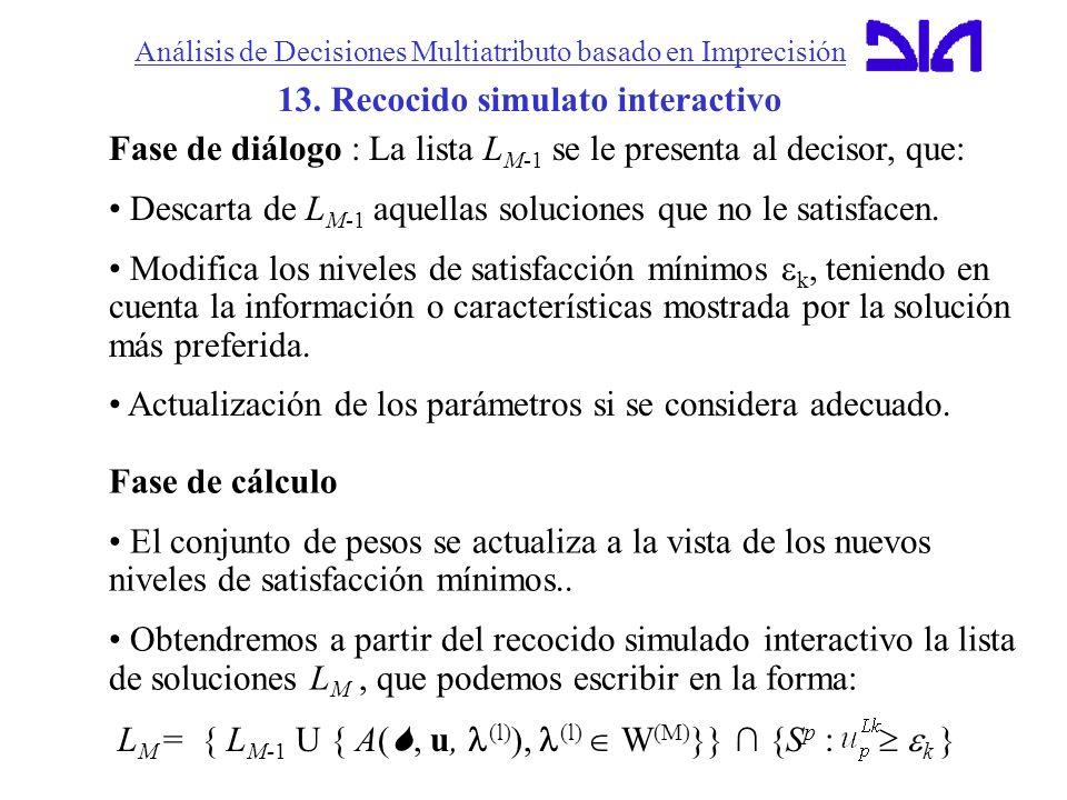 Análisis de Decisiones Multiatributo basado en Imprecisión 13. Recocido simulato interactivo Fase de diálogo : La lista L M-1 se le presenta al deciso
