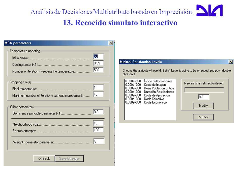 Análisis de Decisiones Multiatributo basado en Imprecisión 13. Recocido simulato interactivo