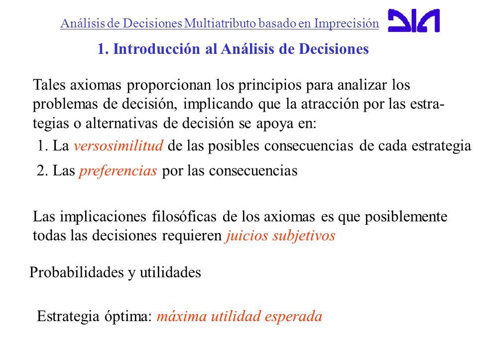 Análisis de Decisiones Multiatributo basado en Imprecisión 1. Introducción al Análisis de Decisiones Tales axiomas proporcionan los principios para an