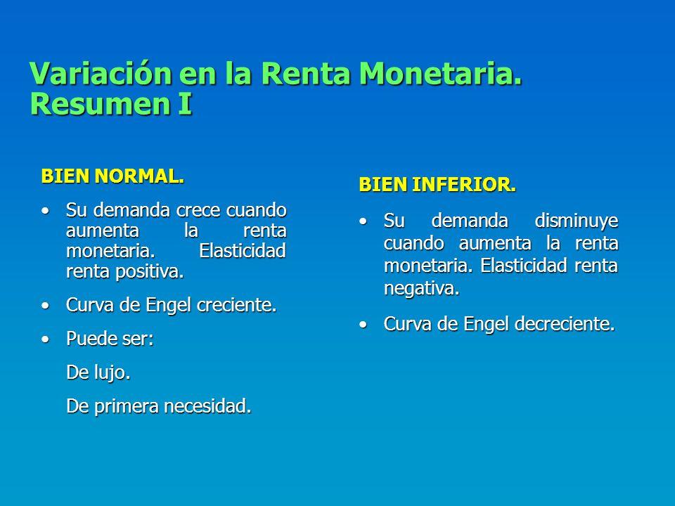 La Curva de Engel. Lugar geométrico de todas las cantidades óptimas demandadas de un bien para cada nivel de renta monetaria. X i = X i (m). Creciente