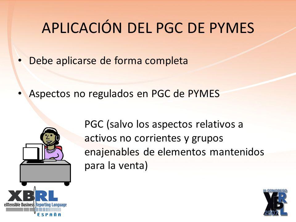 APLICACIÓN DEL PGC DE PYMES Debe aplicarse de forma completa Aspectos no regulados en PGC de PYMES PGC (salvo los aspectos relativos a activos no corr