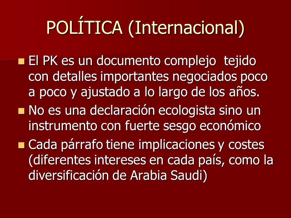 POLÍTICA (Internacional) El PK es un documento complejo tejido con detalles importantes negociados poco a poco y ajustado a lo largo de los años. El P