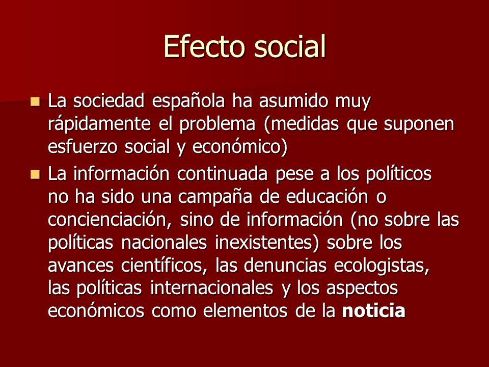Efecto social La sociedad española ha asumido muy rápidamente el problema (medidas que suponen esfuerzo social y económico) La sociedad española ha as