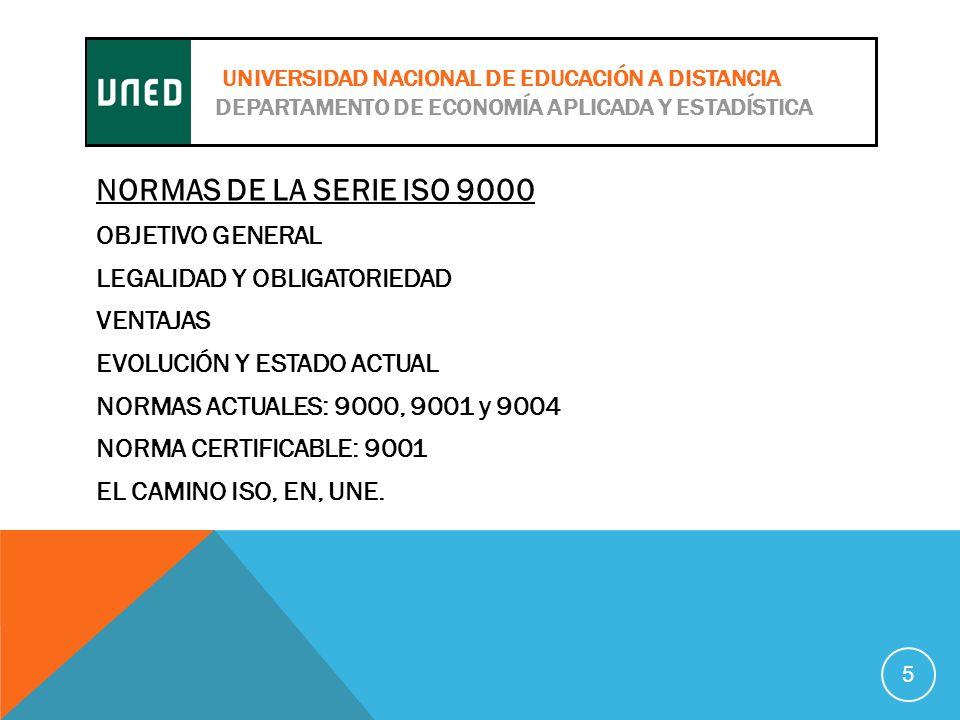 NORMAS DE LA SERIE ISO 9000 OBJETIVO GENERAL LEGALIDAD Y OBLIGATORIEDAD VENTAJAS EVOLUCIÓN Y ESTADO ACTUAL NORMAS ACTUALES: 9000, 9001 y 9004 NORMA CERTIFICABLE: 9001 EL CAMINO ISO, EN, UNE.