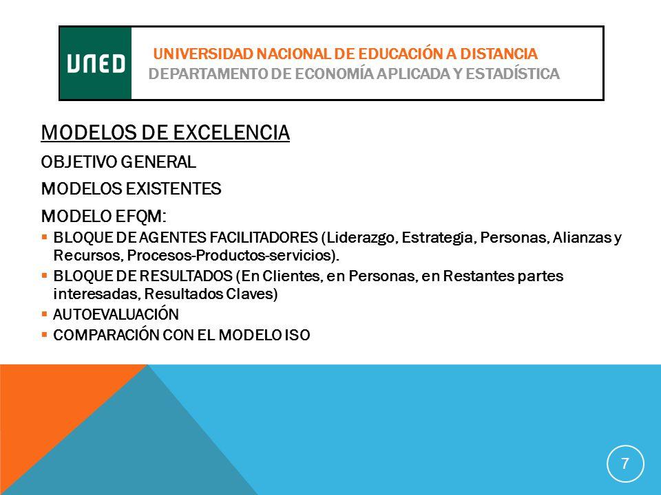 MODELOS DE EXCELENCIA OBJETIVO GENERAL MODELOS EXISTENTES MODELO EFQM: BLOQUE DE AGENTES FACILITADORES (Liderazgo, Estrategia, Personas, Alianzas y Recursos, Procesos-Productos-servicios).