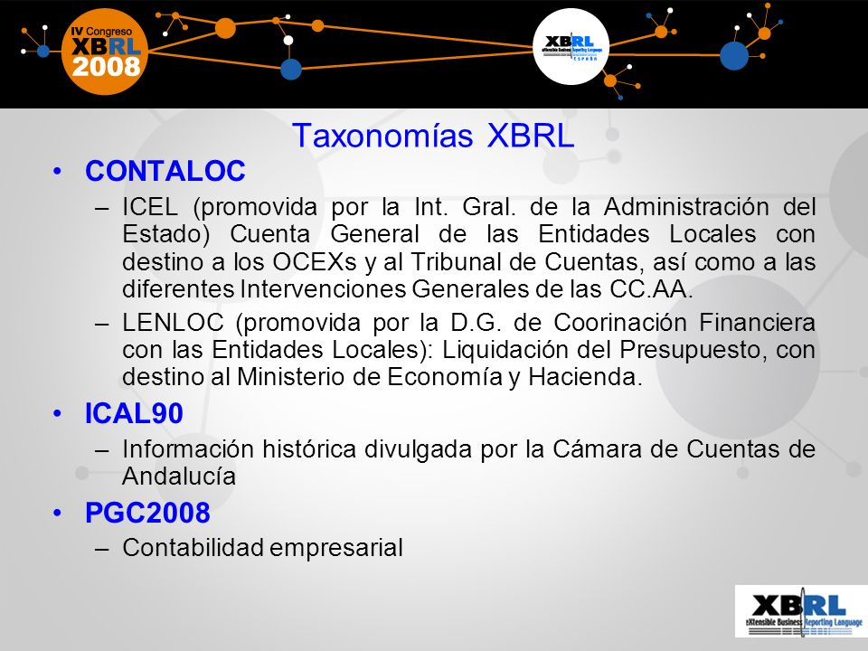 Taxonomías XBRL CONTALOC –ICEL (promovida por la Int.