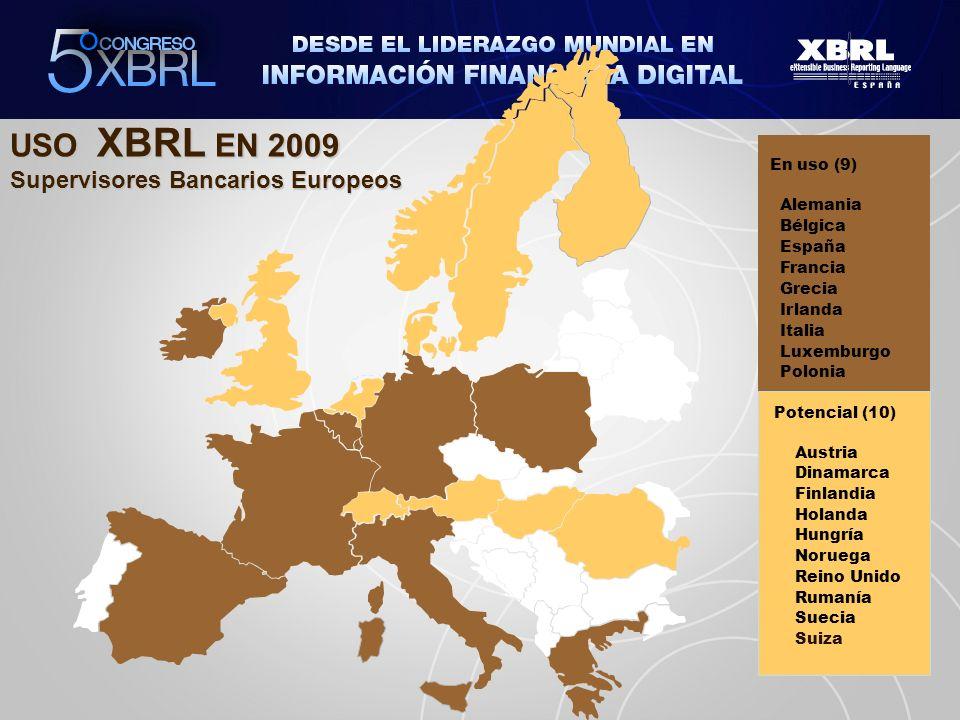 USO XBRL EN 2009 Supervisores Bancarios Europeos En uso (9) Alemania Bélgica España Francia Grecia Irlanda Italia Luxemburgo Polonia Potencial (10) Au