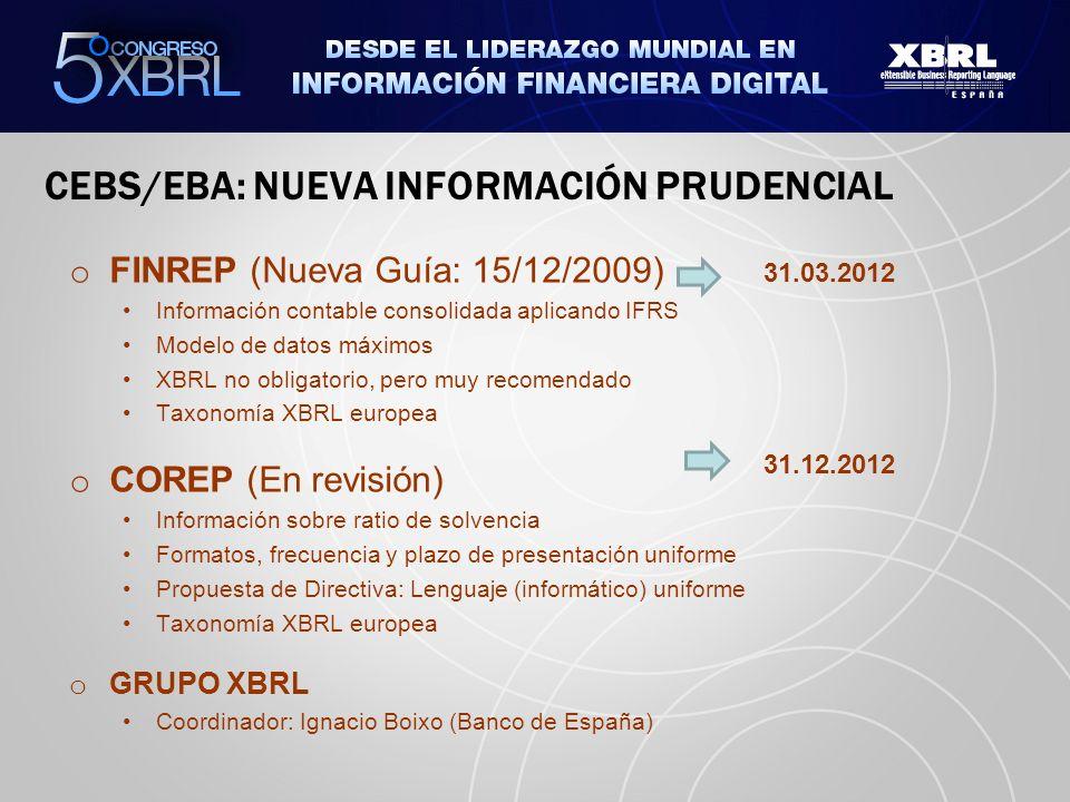 CEBS/EBA: NUEVA INFORMACIÓN PRUDENCIAL o FINREP (Nueva Guía: 15/12/2009) Información contable consolidada aplicando IFRS Modelo de datos máximos XBRL