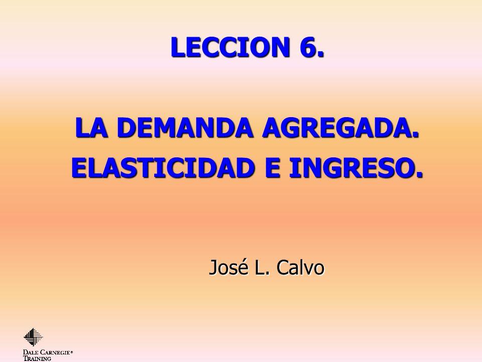LECCION 6. LA DEMANDA AGREGADA. ELASTICIDAD E INGRESO. José L. Calvo