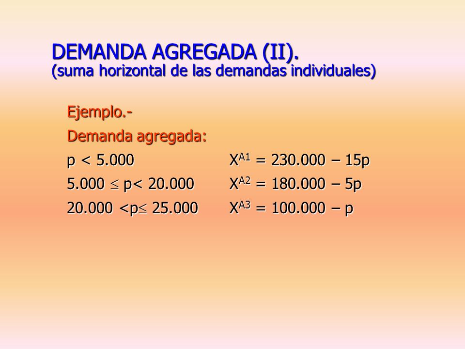 DEMANDA AGREGADA. (suma horizontal de las demandas individuales) Ejemplo.- Demandas individuales: N 1 = 5X 1 =(10.000 – 2p)p 5.000 N 2 = 4X 2 =(20.000