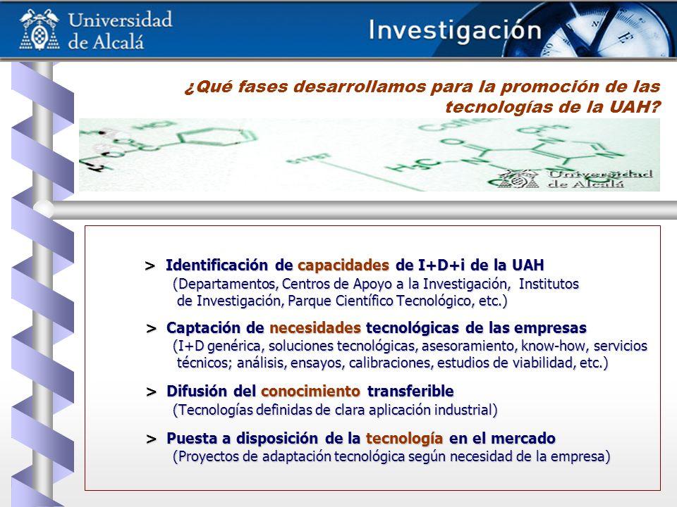 > Identificación de capacidades de I+D+i de la UAH (Departamentos, Centros de Apoyo a la Investigación, Institutos de Investigación, Parque Científico